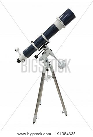 blue telescope on a tripod isolated on white background