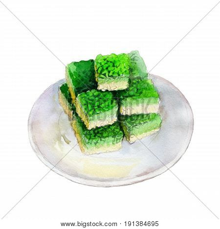 Saint Patricks day rice krispies treats watercolor illustration in hand-drawn style isolated on white background.
