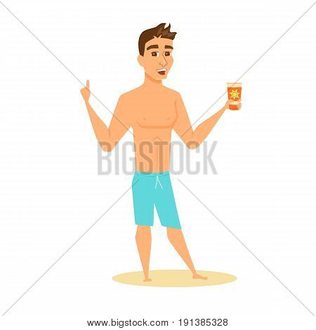 Men in shorts shows sunscreen. Happy guy on beach in swimsuit holding sunblock cream. Cartoon summer male character with lotion bottle isolated on white