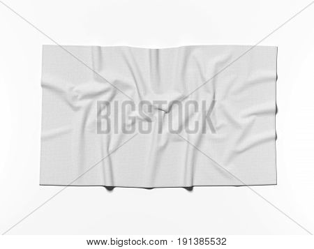 White cotton banner isolated on bright background. 3d rendering