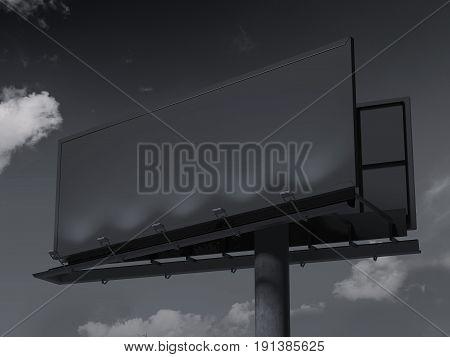 Black blank billboard against the beautiful sky. 3d rendering