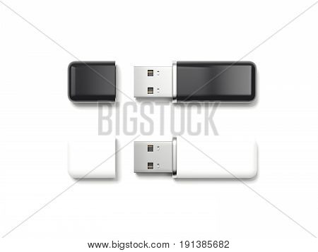 Two usb memory sticks isolated on white background. 3d rendering