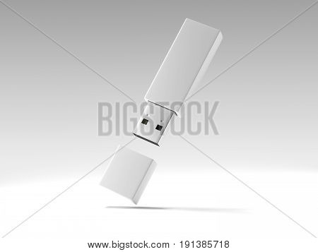 Usb memory stick isolated on white background. 3d rendering