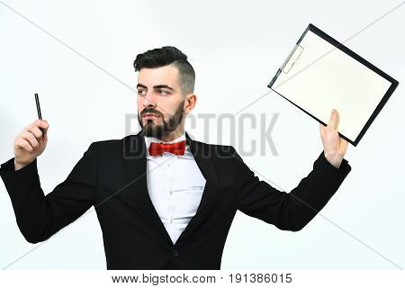 Busy Director In Classic Suit And Red Bow Tie