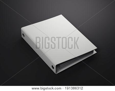 White folder isolated on black background. 3d rendering