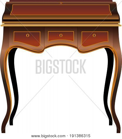 Antique furniture The secretor on bent legs is decorated with carvings