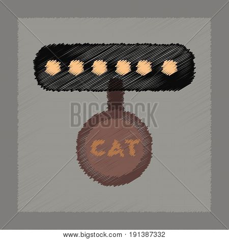 flat shading style icon of cat collar