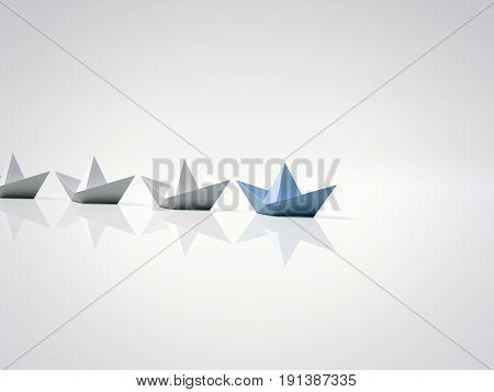 Blue paper ship leading among white. 3d rendering