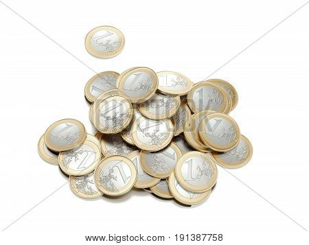 Pile of euro coins isolated on whtie background. 3d rendering