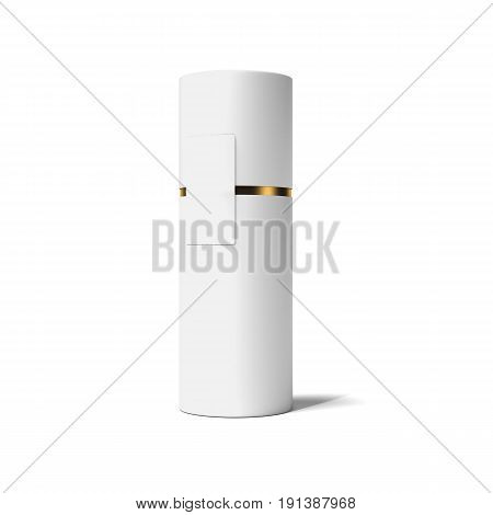White and gold tube isolated on bright background. 3d rendering