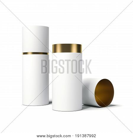 White and gold tube opened. Isolated on bright background. 3d rendering