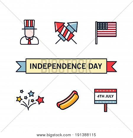 4th July. Patriotic icons. Independence Day of America. Vector icons set. Collection of flat design elements isolated on white background. National celebration, BBQ, Uncle Sam, hat, fireworks, flag