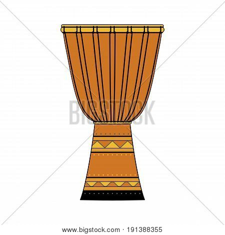 Isolated colorful decorative ornate djembe on white background. Colored musical instrument