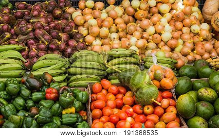 Onions with Peppers and Tomatoes in Curacao Market
