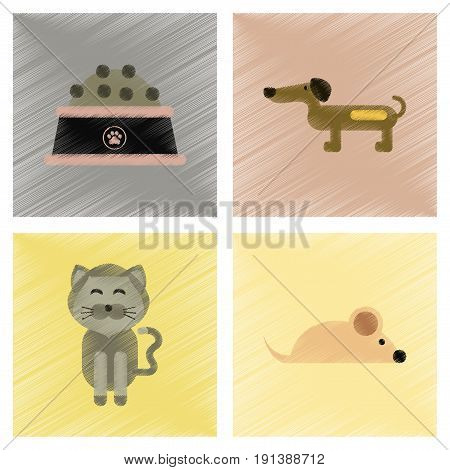 assembly flat shading style icons of pets and accessories