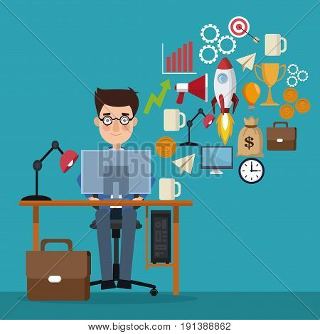 blue color background businessman in workplace generating ideas vector illustration
