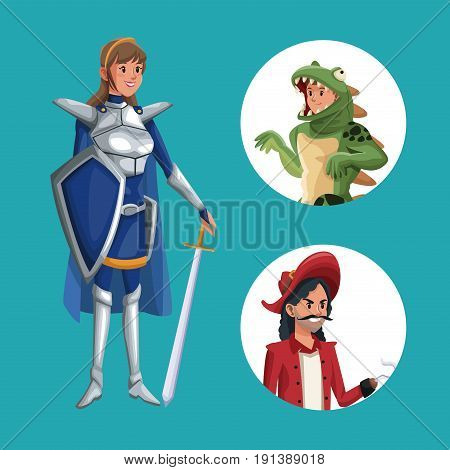 blue poster with warrior princess costume and icons male halloween costume vector illustration