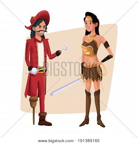poster with couple pirate man and indian warrior costume halloween vector illustration