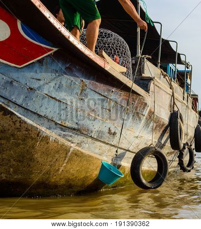 Local Fishing Boat In The Mekong Region Of Southeast Asia, Thailand, Laos, Cambodia, Vietnam, Landin