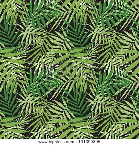 Tropical palm leaves jungle leaves seamless vector floral pattern. Seamless exotic background with tropical leaves. Vector illustration.