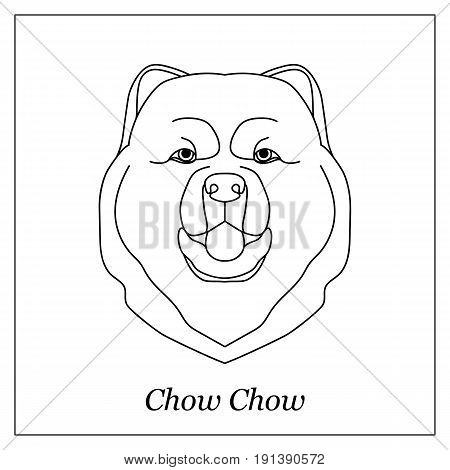 Isolated black outline head of chow chow on white background. Line cartoon breed dog portrait