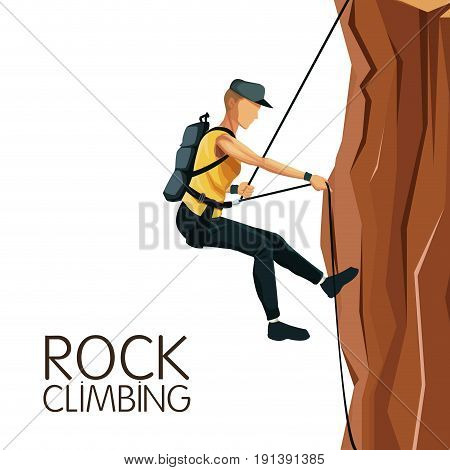 scene man mountain descent with harness rock climbing vector illustration