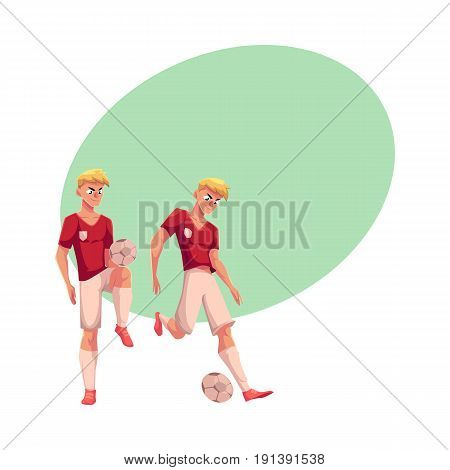Handsome blond soccer player dribbling a ball, cartoon vector illustration with space for text. Full length portrait of professional soccer player kicking it up with knee