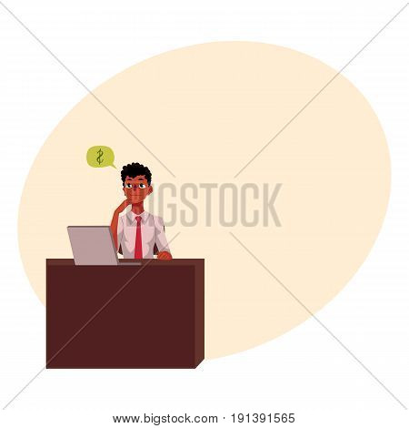 Black, African American businessman, manager, financial analyst at office desk, cartoon vector illustration with space for text. Black businessman, worker, employee working in office