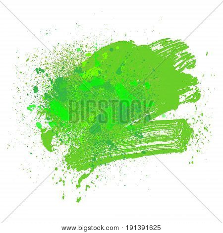 smudge and smear a green brush on a white background illustration clip-art