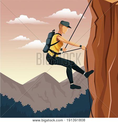 scene landscape man mountain descent with harness rock climbing vector illustration
