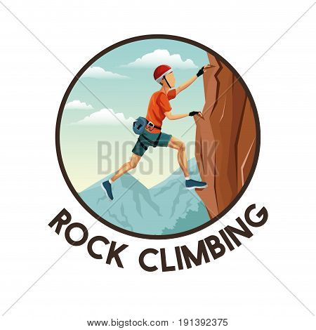 color circular frame with scene landscape man climbing rock mountain without equipment vector illustration