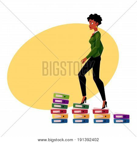 Black, African American businesswoman climbing up career ladder shown as document folder steps, cartoon vector illustration with space for text. Folders of documents as career ladder concept