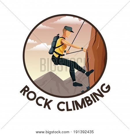 color circular frame with scene landscape man mountain descent with harness rock climbing vector illustration