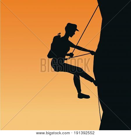 sunset scene of black silhouette man mountain descent with harness rock climbing vector illustration