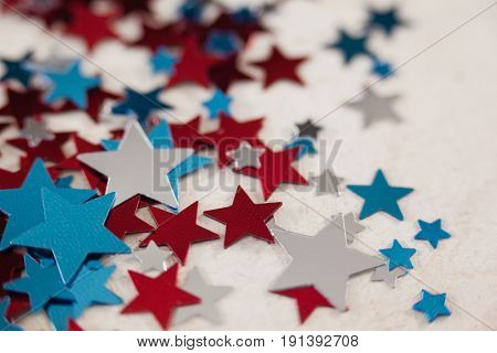 Star shape decoration on white textile with 4th July theme