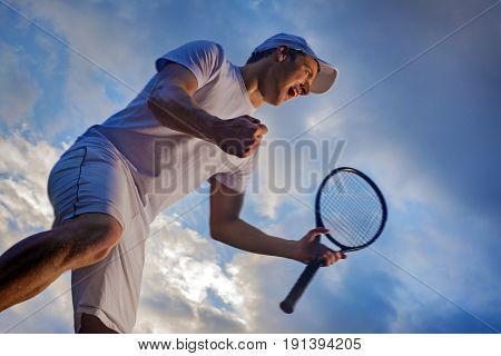 Winning Tennis player, happy screaming