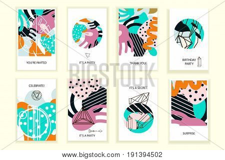 Universal abstract posters set. Creative abstract painting concept cards. Trendy style creative abstract designs for wedding anniversary birthday Valentin's day party invitations web print.
