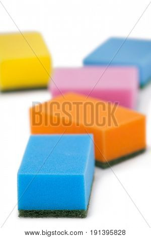 Various scouring pads on white background