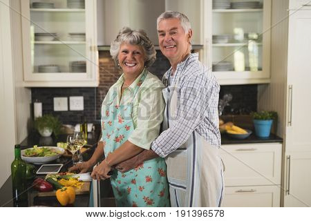 Portrait of smiling senior couple cooking in kitchen at home