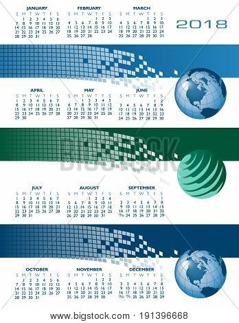 2018 global internet communications calendar with multiple uses