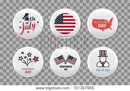 Steel round badges set. Patriotic brooch. 4th of july. Independence Day of America. Realistic mockup