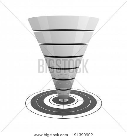 Seperating Funnel Graph Concept  3D Illustration