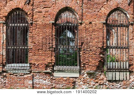 Abandoned Church Wall With Empty Windows