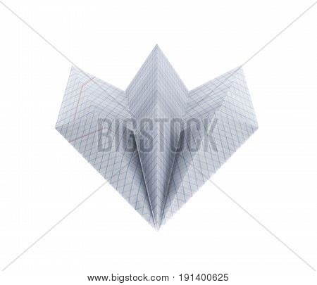 Paper Plane Made With Graph Paper Without Shadow On White Background Front View 3D