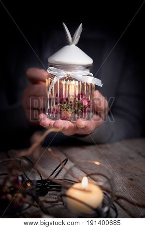 Glass Jar With Lid, Dry Flower, Candle Holder, Candle