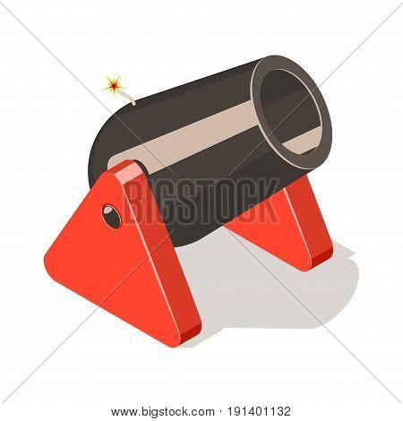 Cannon isolated on white background. Isometric vector illustration