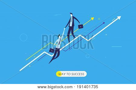 Businessman climbing graph, help. growth charts. Vector illustration Eps10 file. Success, growth rates