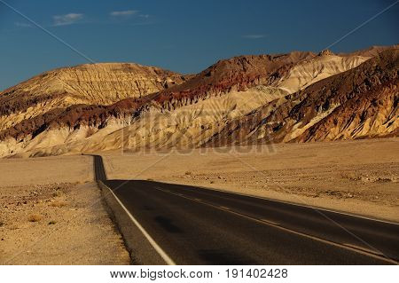 View along Badwater Road in Death Valley National Park California USA
