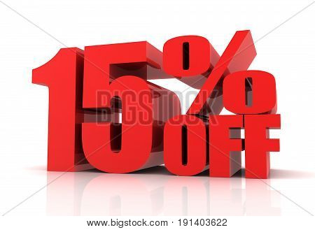 Fifteen Percent Off Sale Concept  3D Illustration
