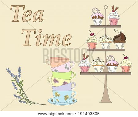 an illustration of an english afternoon tea with a display of cakes some fancy cups and lavender flowers on a beige background